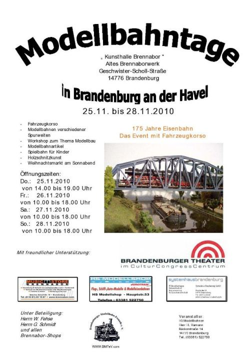 Bild: Flyer Modellbahntage in Brandenburg 2010